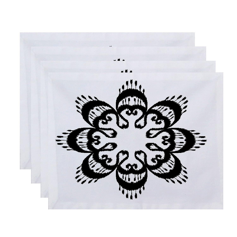 E byデザインpt4gn543bk4 18 x 14インチ、Ikat曼荼羅、幾何印刷プレースマット、ブラック   B01MS0O7TG