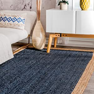 nuLOOM Eleonora Hand Woven Jute Rug, 3' x 5', Blue