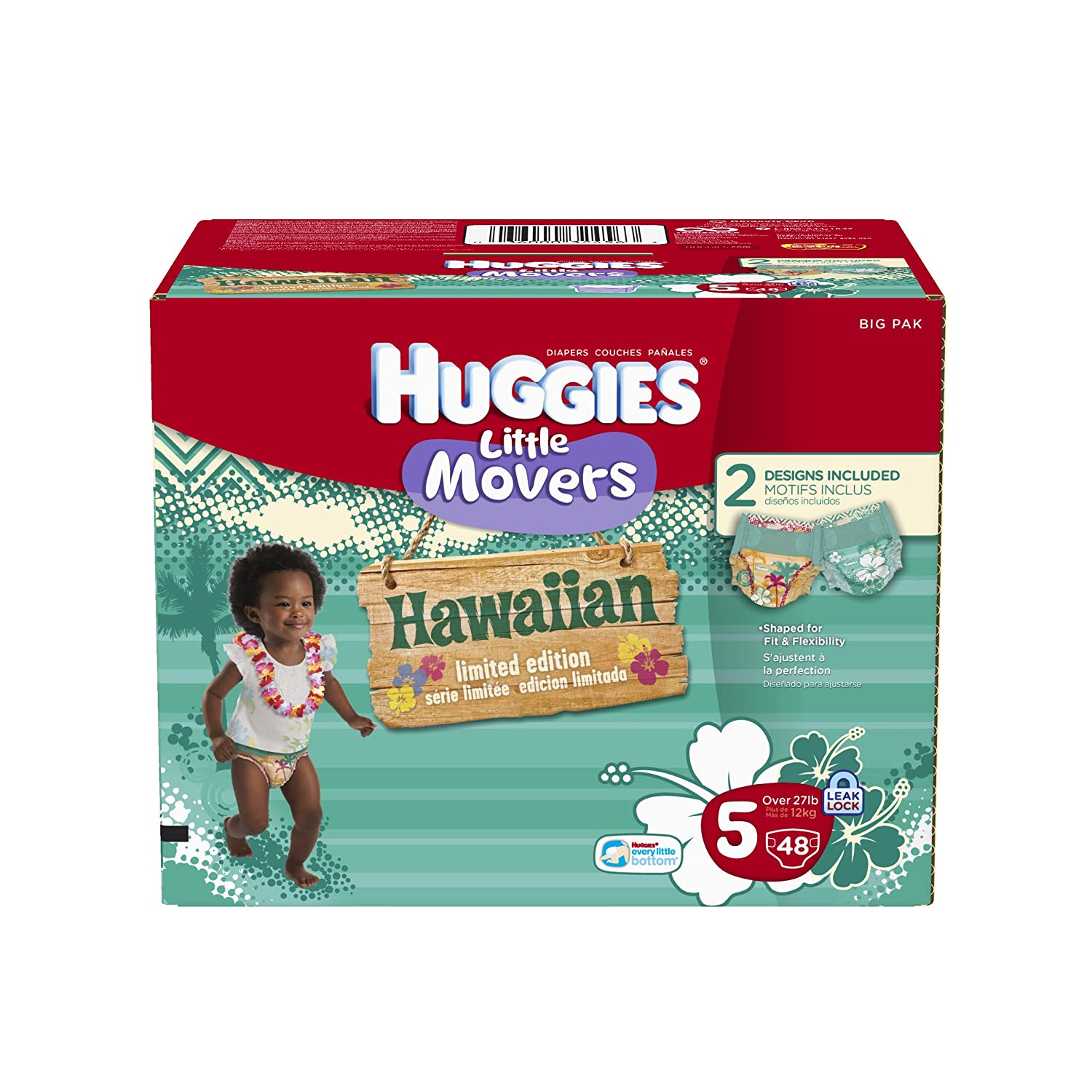 Amazon.com: Huggies Supreme Little Movers Hawaiian Diapers, Big Pack, Size 5, 48 Count: Health & Personal Care