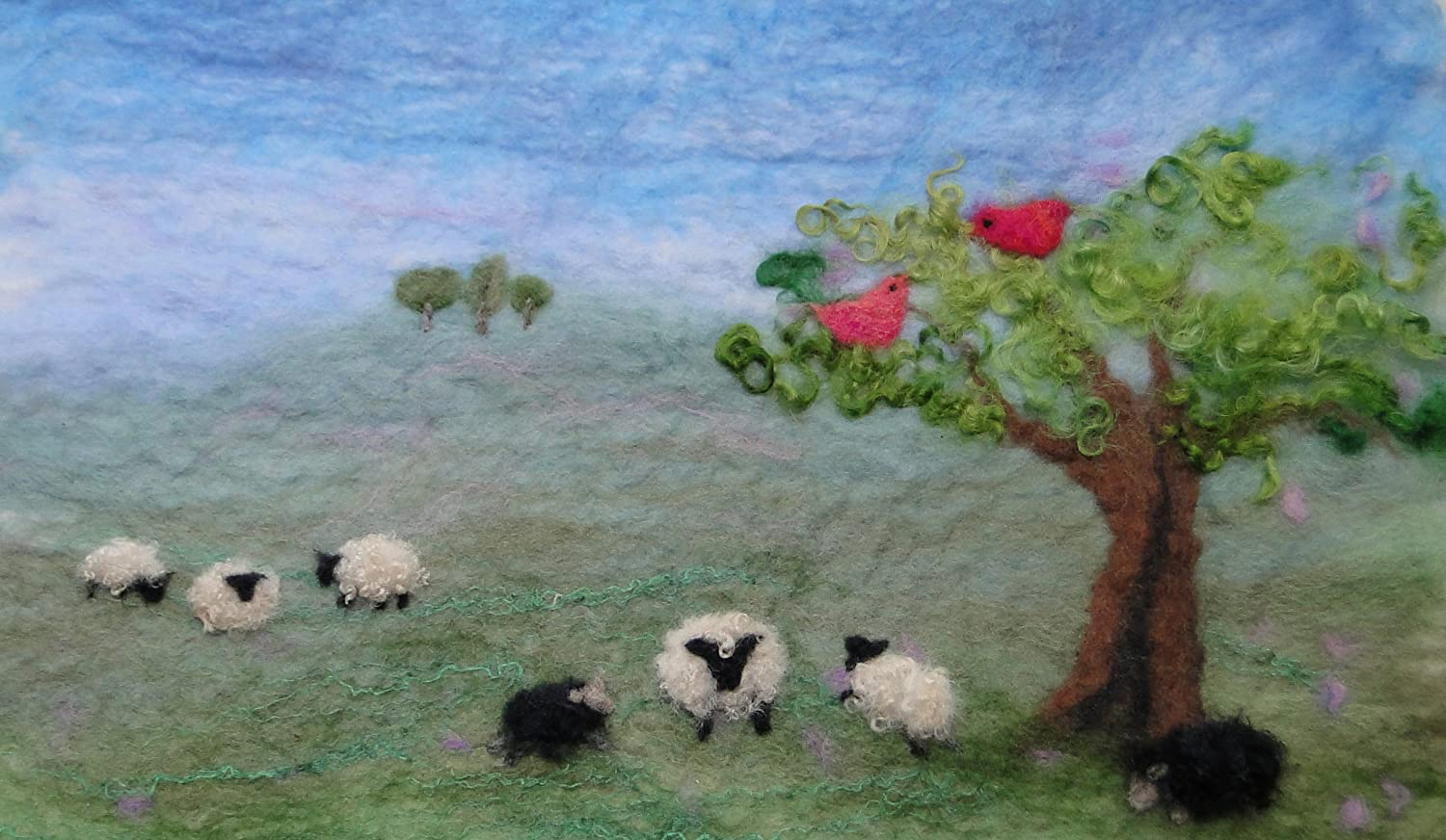 a Carefully Designed Craft kit to Make a Felted Picture with Tree and Birds Artfelt Sheep Landscape Picture Felt kit