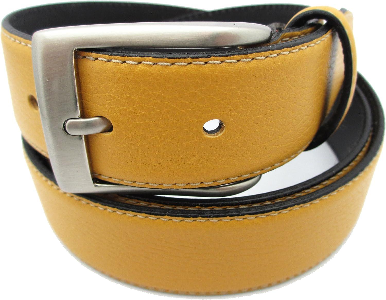 Cinturón de piel para hombre - Hecho a mano en España - Disponible en varios colores: Rojo, Granate, Mostaza, Verde, Azúl Marino, Marrón, Negro: Amazon.es: Ropa y accesorios