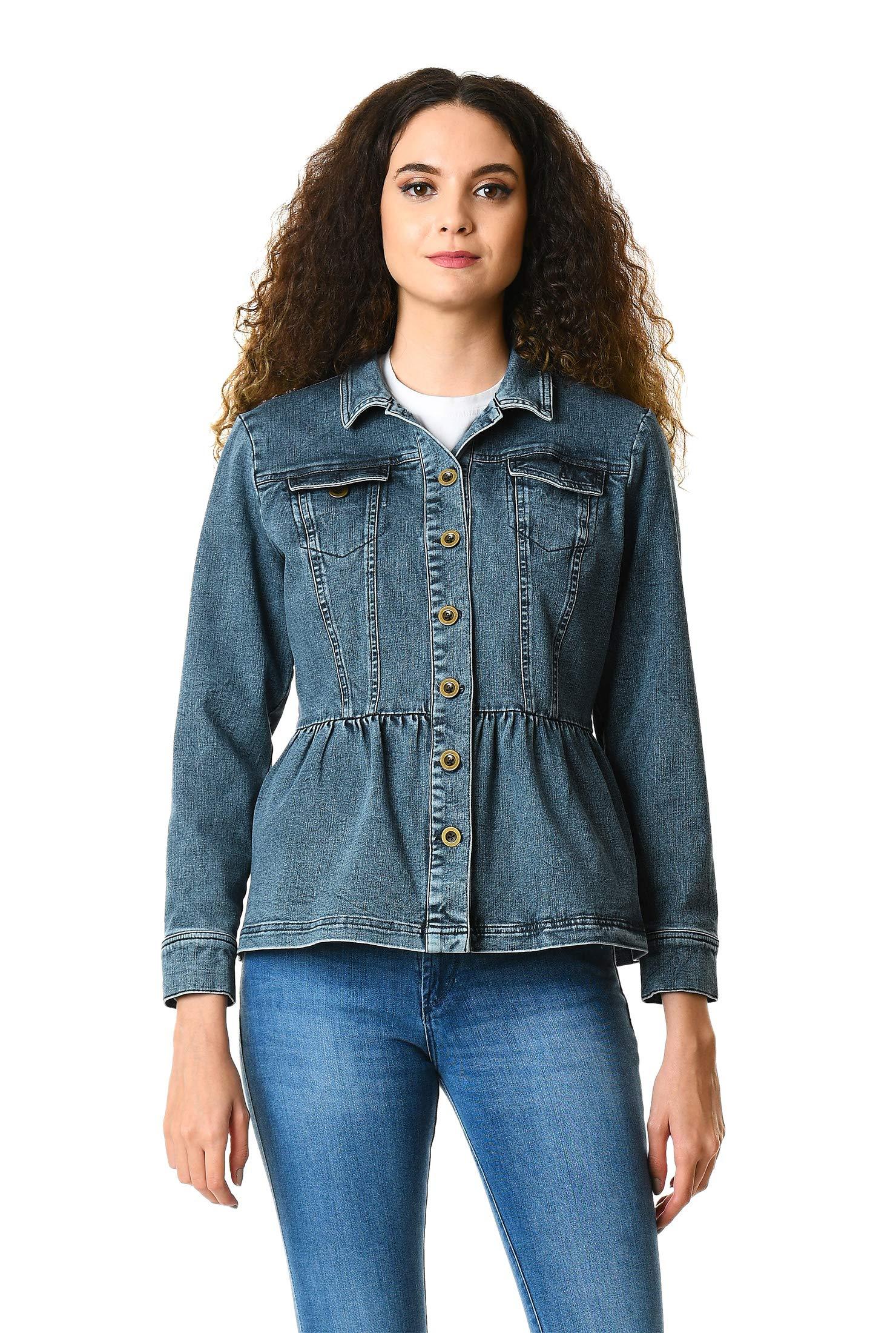 eShakti Women's Vintage wash Denim Peplum Jacket 3X-26W Short Indigo