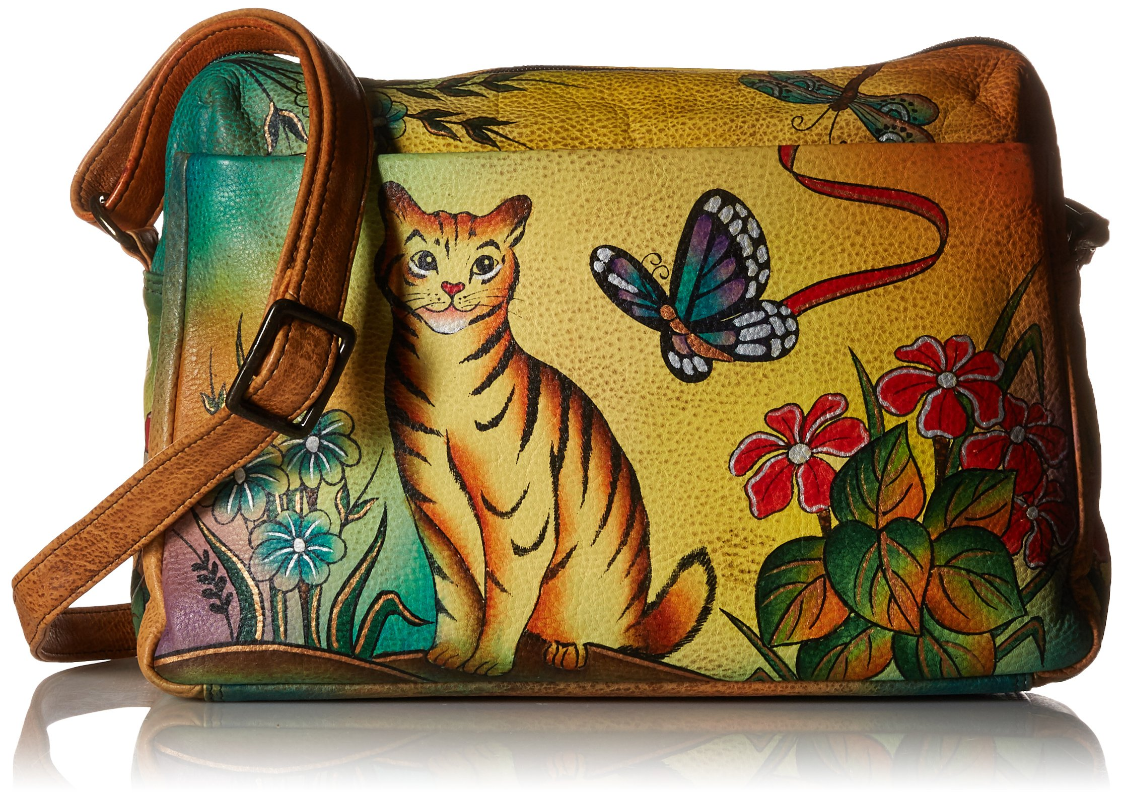 Anuschka Anna Handpainted Leather Medium Satchel Organizer, Cat