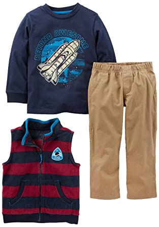 43e9b6124b61 Amazon.com: Simple Joys by Carter's Toddler Boys' 3-Piece Fleece Vest,  Long-Sleeve Shirt, and Woven Pant Playwear Set: Clothing
