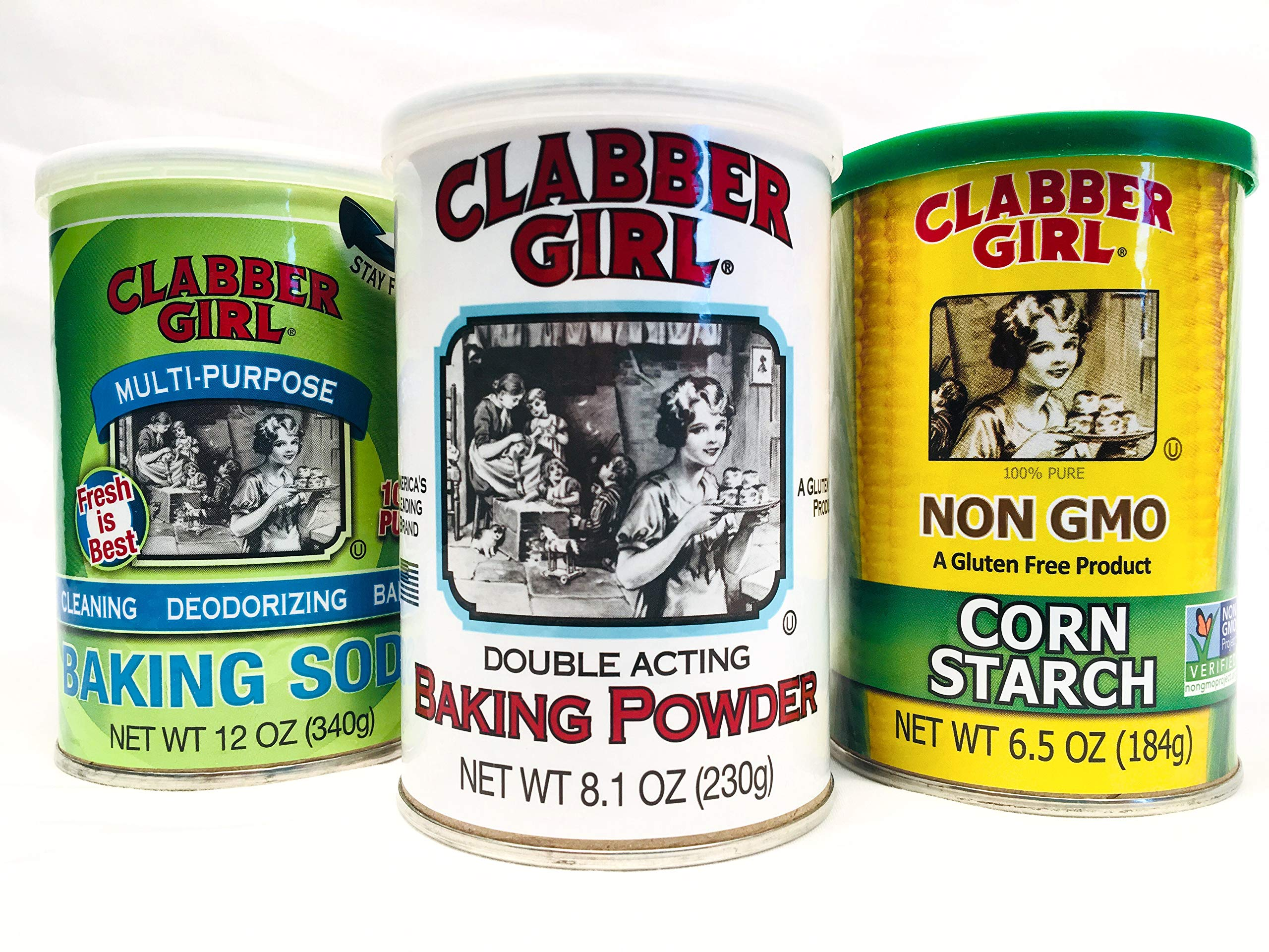 Clabber Girl Bundle 3pk Baking Soda, Powder & Corn Starch