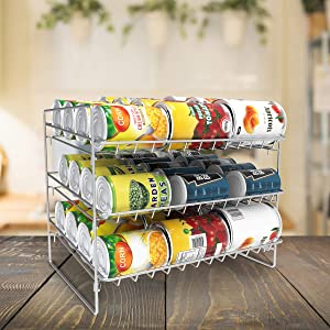 Lavish Home 3-Tier Dispenser-Organizer Holds 36 Standard Jars, Food or Soda Cans-for Kitchen Pantry, Countertops, Cabinets, Fridge-Storage Rack