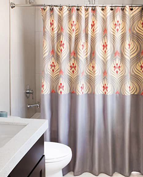 Rizzy Home Cotton Shower Curtain Patterned Grey Red Gold X 72 Inches