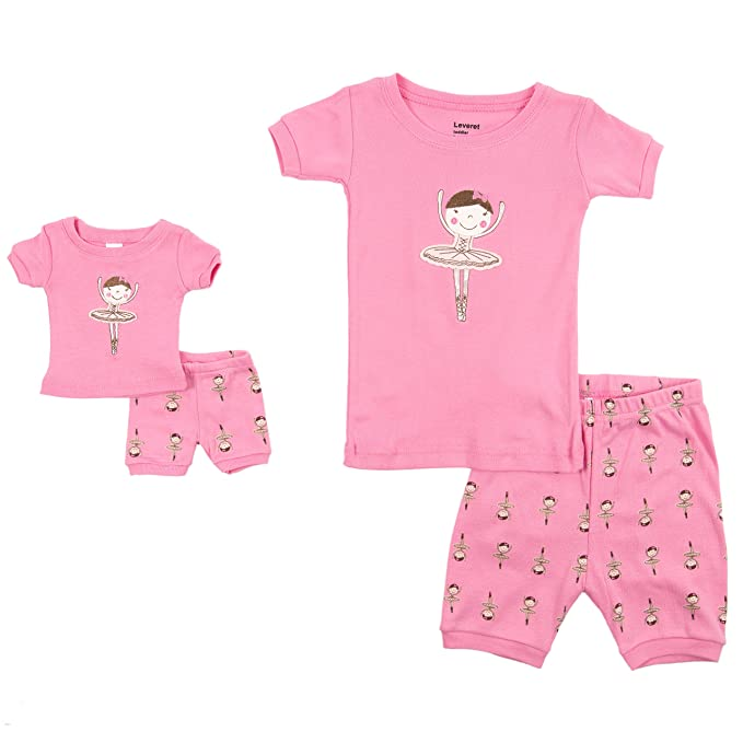 d5d2ef0d09 Leveret Shorts Matching Doll   Girl Ballerina 2 Piece Pajama Set 100% Cotton  Size 2