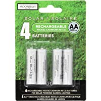 Moonrays 97125 Rechargeable AA Batteries for Solar-Powered Lights, 4-Pack