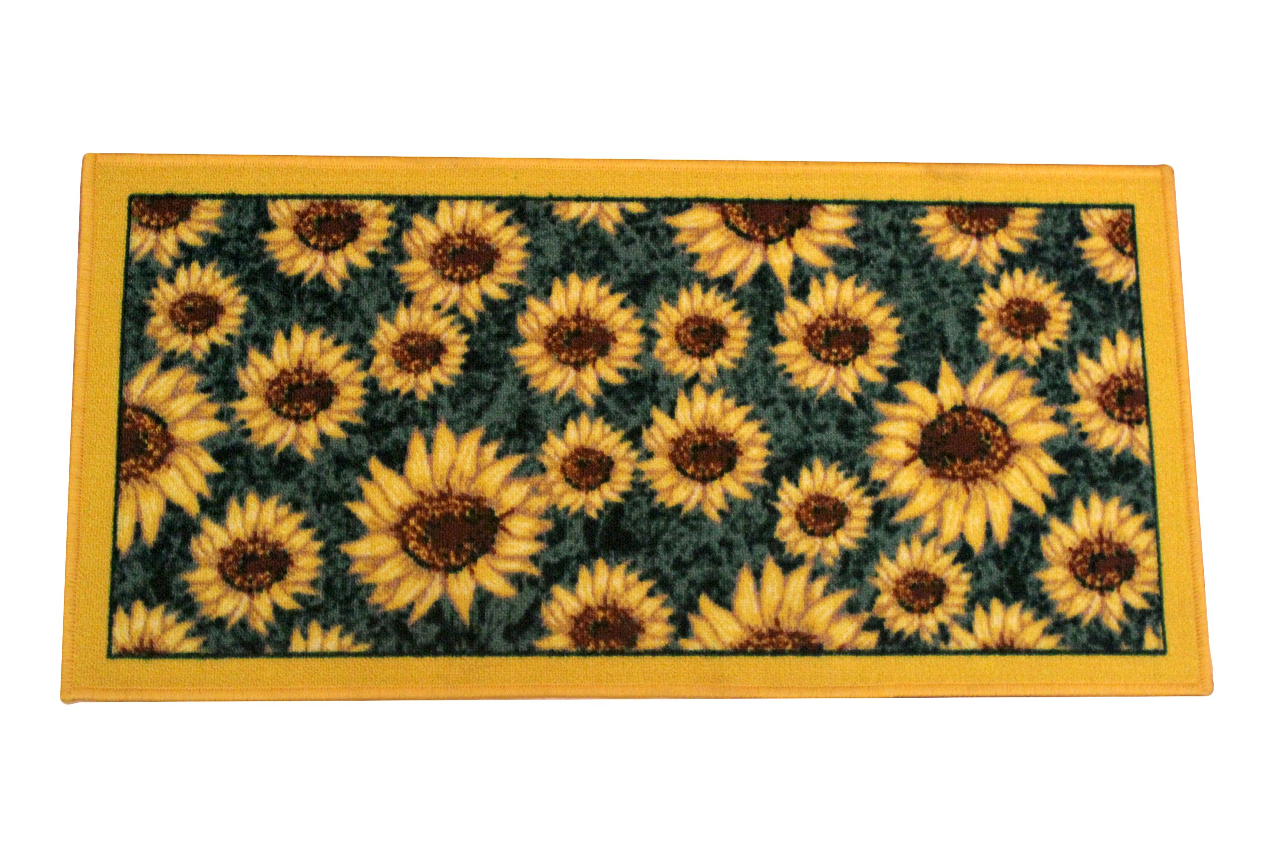 Kashi Home Sunflower Series Kitchen Rug 20'' X 40'' Rectangle Kitchen Mat with Latex Back