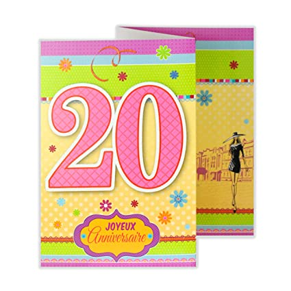 afie 882123 a tarjeta 3 Volets cumpleaños feliz 20 años ...