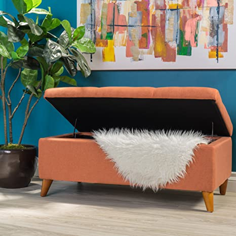 Excellent Gdf Studio Etoney Mid Century Modern Fabric Storage Ottoman Orange Machost Co Dining Chair Design Ideas Machostcouk