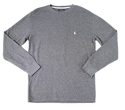 Polo Ralph Lauren Waffle Knit Crew Neck Top, S, Charcoal Heather