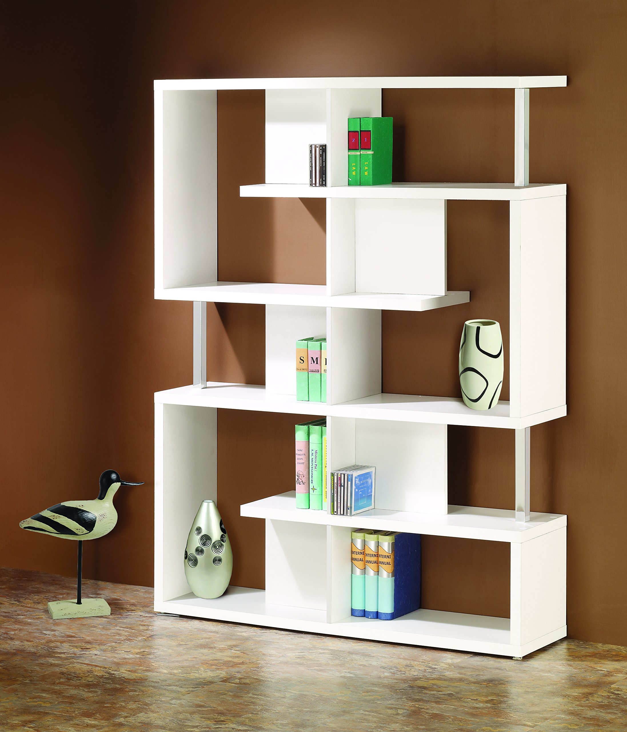 Coaster Home Furnishings  Modern Contemporary Five Tier Double Bookcase Storage Shelf with Chrome Details - Black by Coaster Home Furnishings
