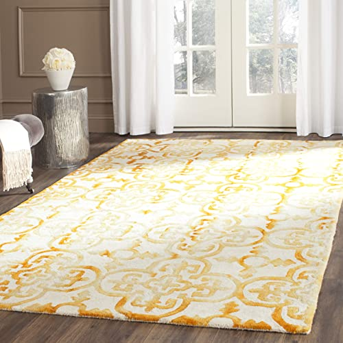 Safavieh Dip Dye Collection DDY711C Handmade Moroccan Geometric Watercolor Ivory and Gold Wool Area Rug 9 x 12