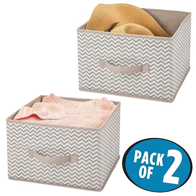 mDesign Juego de 2 organizadores para armarios de tela - Cajas de tela para ordenar armarios - Cajas organizadoras para ropa, mantas y otros accesorios ...