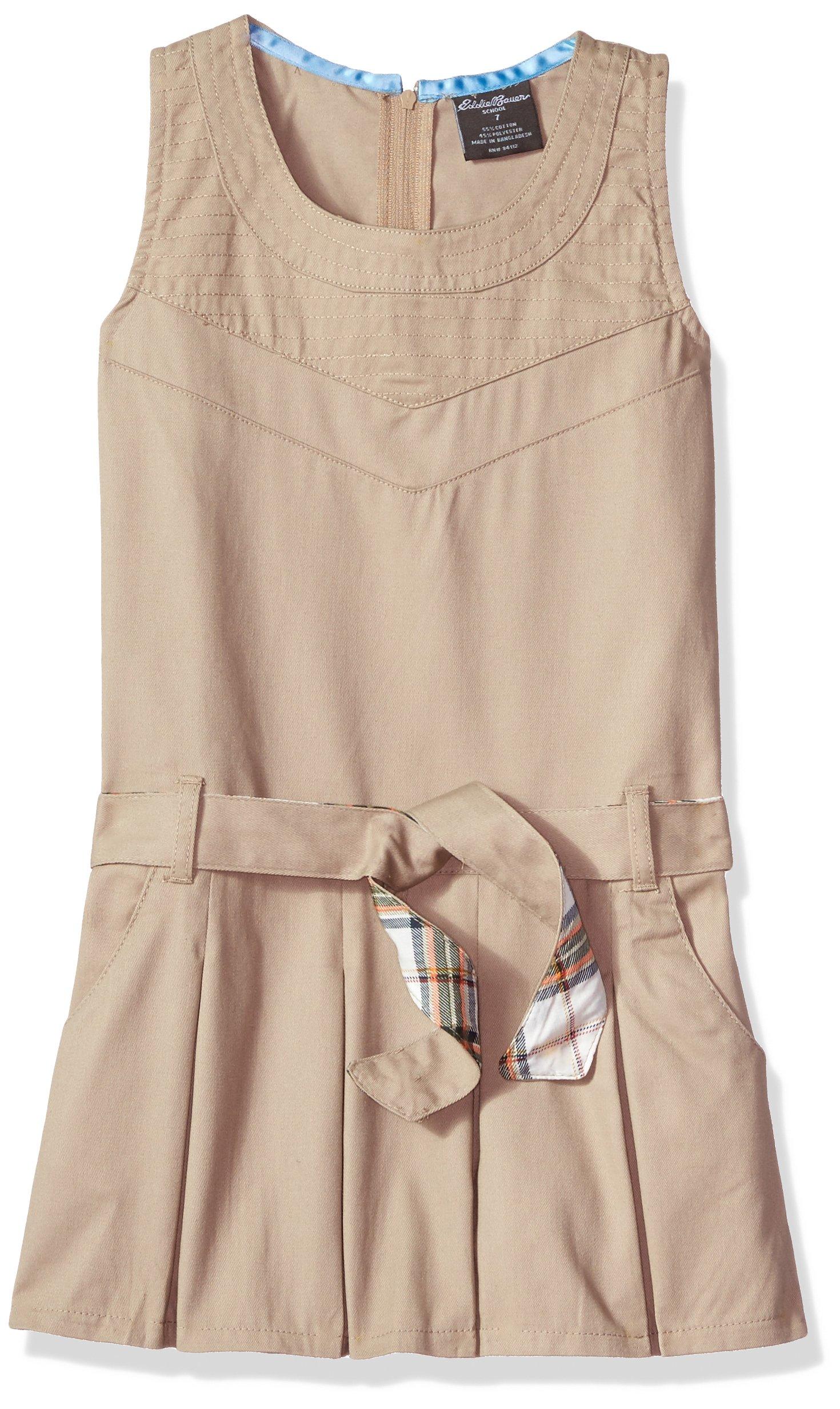 Eddie Bauer Girls' Dress Jumper (More Styles Available), Warm Khaki, 7