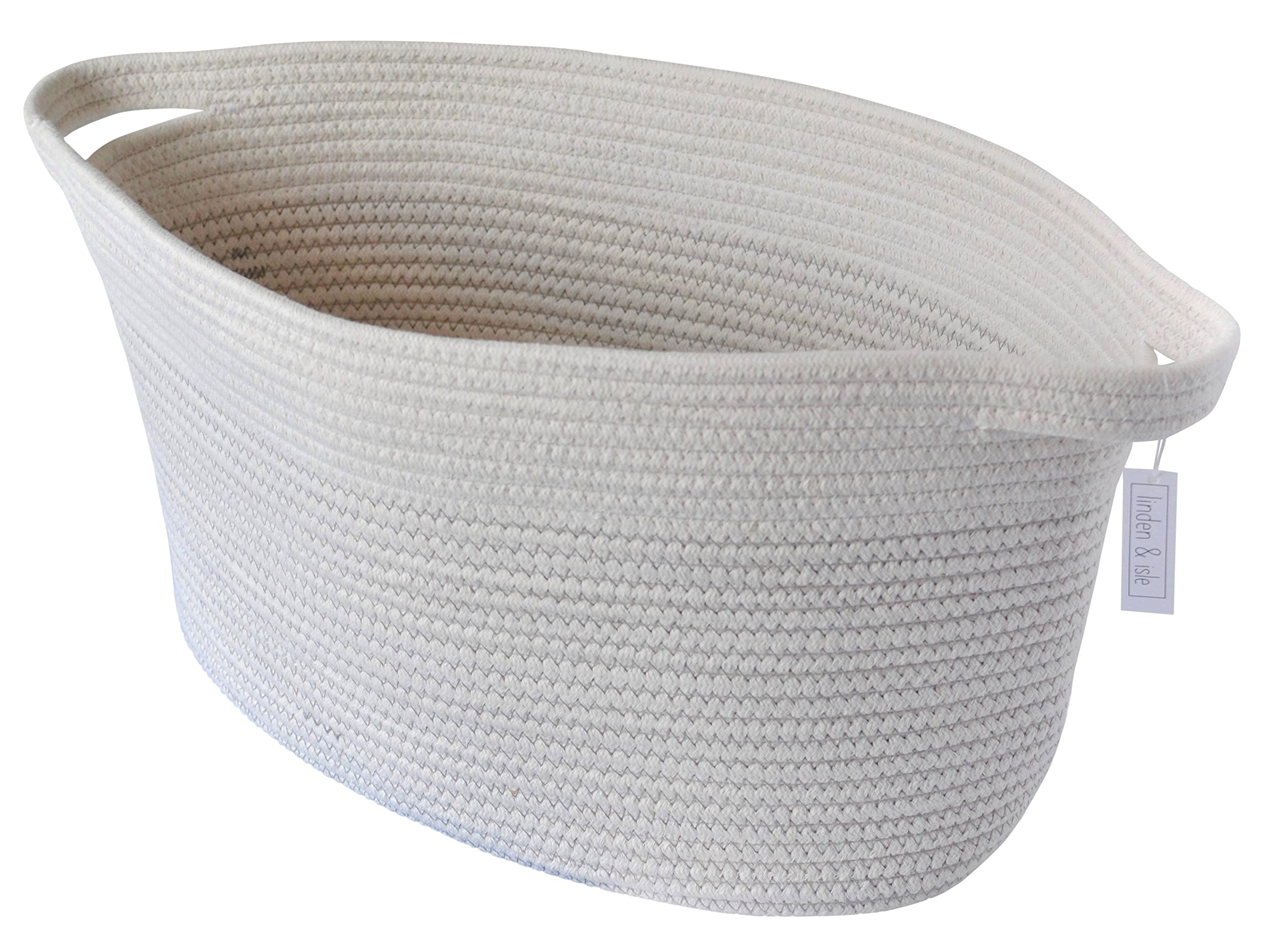 "linden & isle Cotton Rope Storage Basket | Large storage bin for Toy Storage, Blankets, Living Room Decor, Nursery Storage, Laundry - 22""x 10.3""x 11.5"" - Off White w/Gray Thread - SIZE: 22""x 10.3""x 11.5""- Oval Unique large oval shape is designed to fit in small spaces but provide large storage capacity. Neutral colors makes this basket perfect storage for any room and use. Living room storage, laundry, toy storage, nursery, bedroom, kids room etc. - living-room-decor, living-room, baskets-storage - 91iOxRsXgOL -"