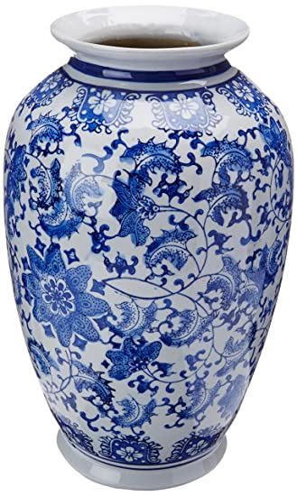 Amazon Oriental Furniture 14 Floral Blue White Porcelain