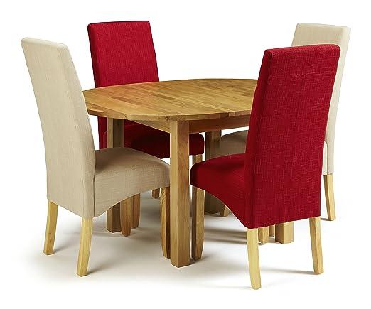 Sutton Mesa Redonda Extensible de Roble con 4 sillas de Tela de ...