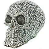 Realistic Replica Human Skull Statue with Silver Stone Sculpture Figure Skeleton Limited by Albela