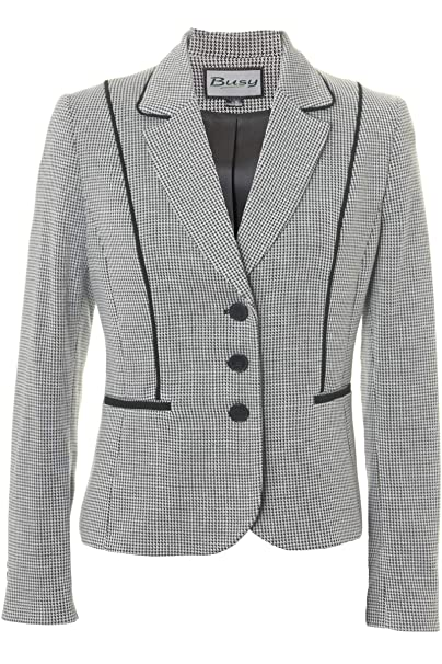 7130eb1731ae3 Busy Clothing Womens Black and White Dogtooth Pattern Jacket: Amazon.co.uk:  Clothing