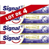 Signal Dentifrice Integral 8, Formule Antibactérienne au Pro-Time Zinc, Protection Caries, Gencives Renforcées, Email Renforcé, Action Blancheur, Haleine Fraîche, Anti-Plaque & Anti-Tartre - Lot de 4