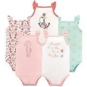 Hudson Baby Unisex Baby Sleeveless Cotton Bodysuits, Beautiful sea 5-Pack, 0-3 Months (3M)