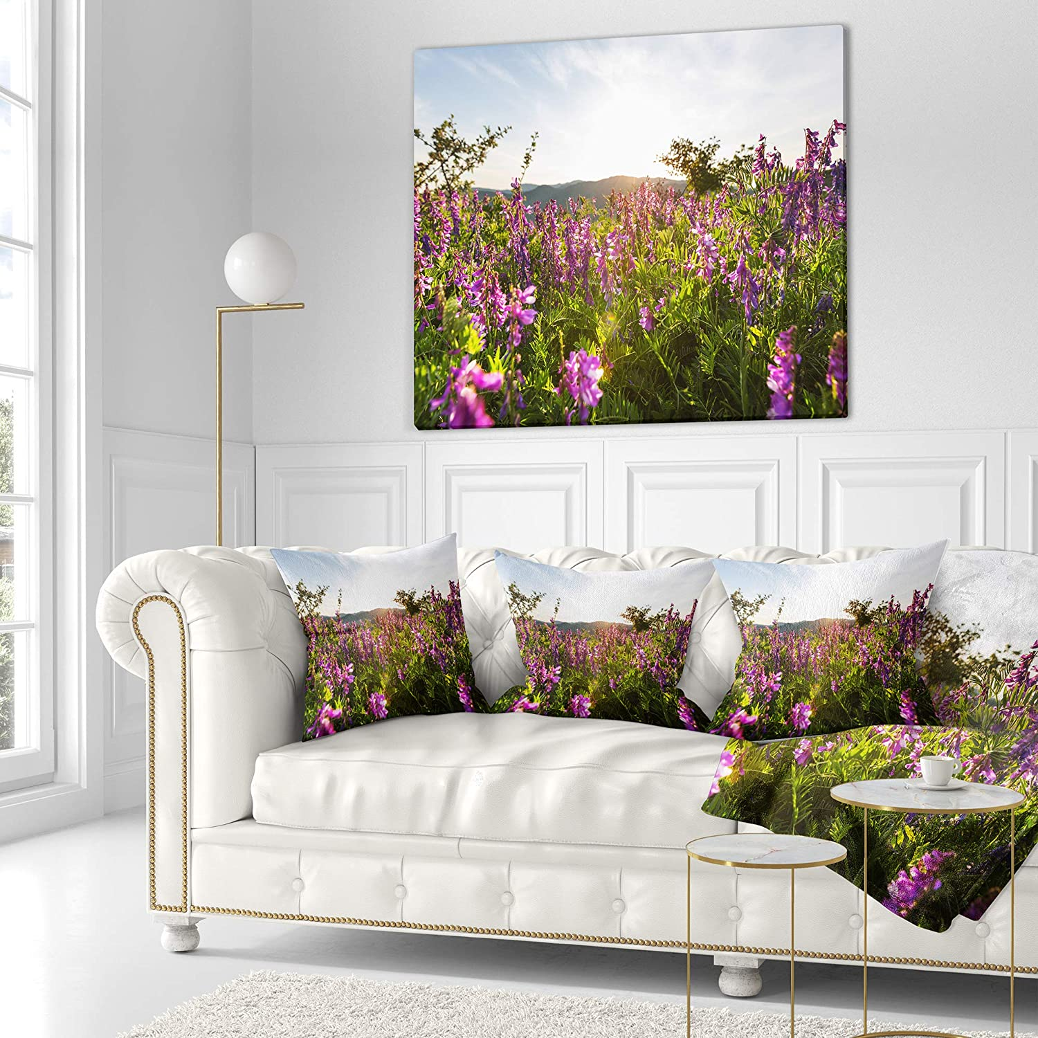 Sofa Throw Pillow 26 in x 26 in Designart CU12619-26-26 Amazing Summer Pasture with Flowers Floral Cushion Cover for Living Room