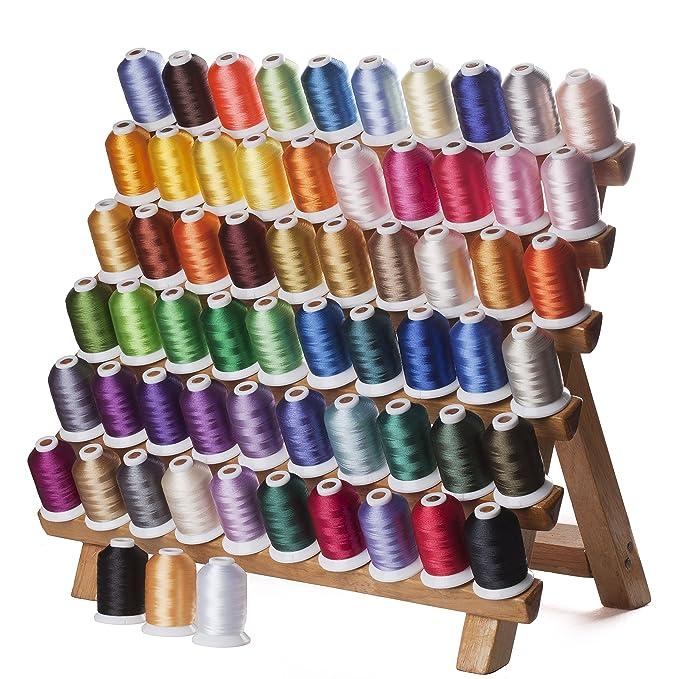Simthreads - Bobinas para bordar para máquina Brother, 63 colores, poliéster, 1000 metros/bobina: Amazon.es: Hogar