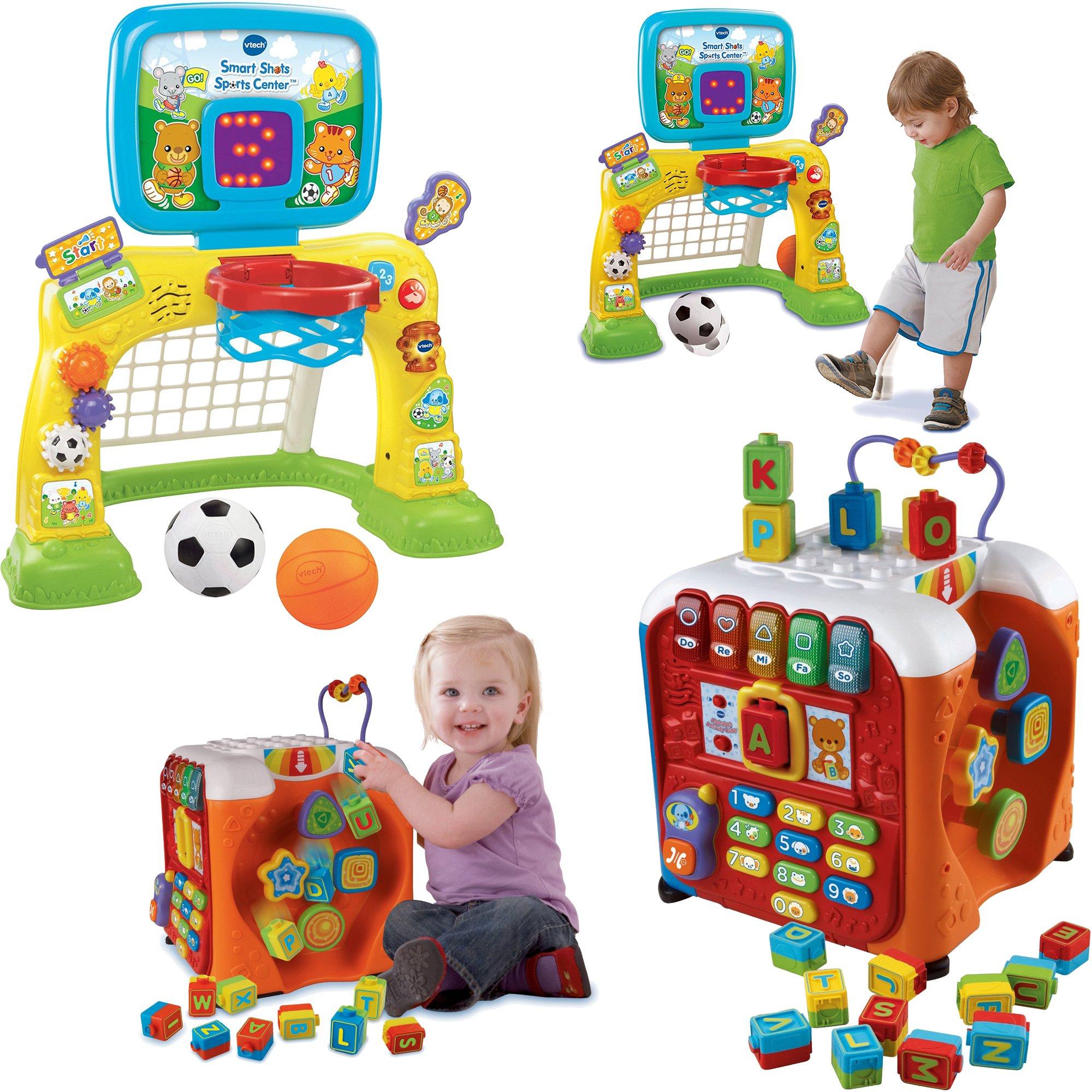 VTech Smart Shots Sports Center and Alphabet Activity Cube - Kids Brain Development Toys, 2-Piece Bundle