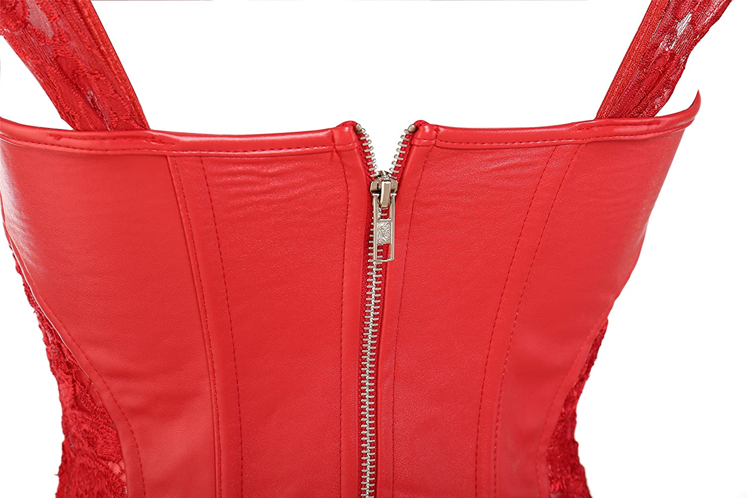 MISS MOLY Lady Faux Leather Lace Up Front Zipper Back Corset Goth Bustier Red