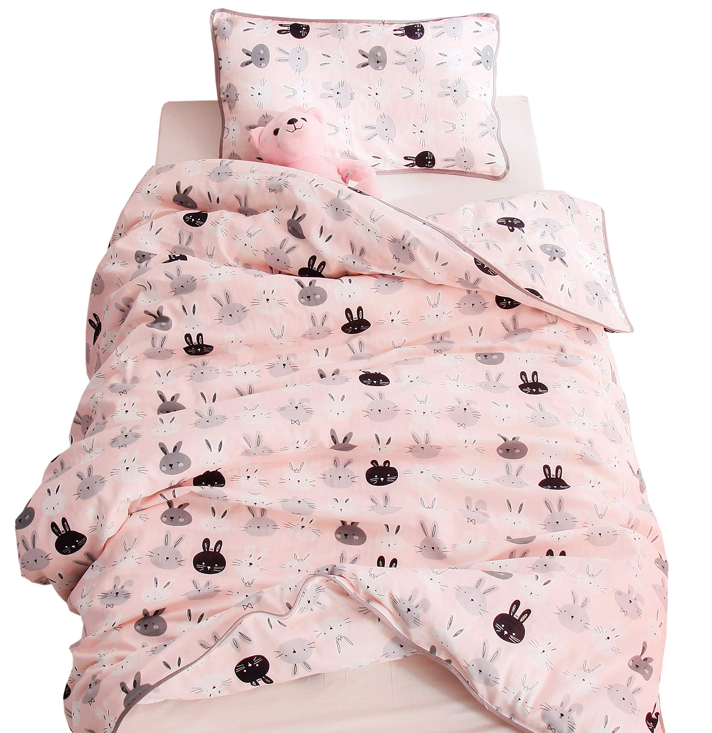 J-pinno Boys Girls Pink Bunny Muslin Duvet Covers, 100% Cotton, Invisible Zipper, for Kids Crib/Twin Bedding Decoration Gift (Twin 59'' X 78'', Pink)