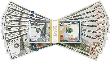 Image of PROP MONEY REALISTIC AMERICAN DOLLARS $10,000 IMPRESIÓN COMPLETA NEW STYLE DOLLAR BILLS, Prop Fake Juego de imaginación Toy Notes Decoración del partido Disfraz Juegos de casino Supreme Cash Cannon