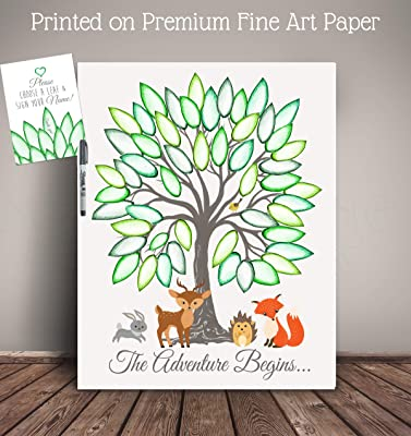 The Adventure Begins (or custom message) Woodland Creatures Art Print for Guest Sign-in, Baby Shower Guest Record, with Pen! - Printed on Premium Fine Art Paper