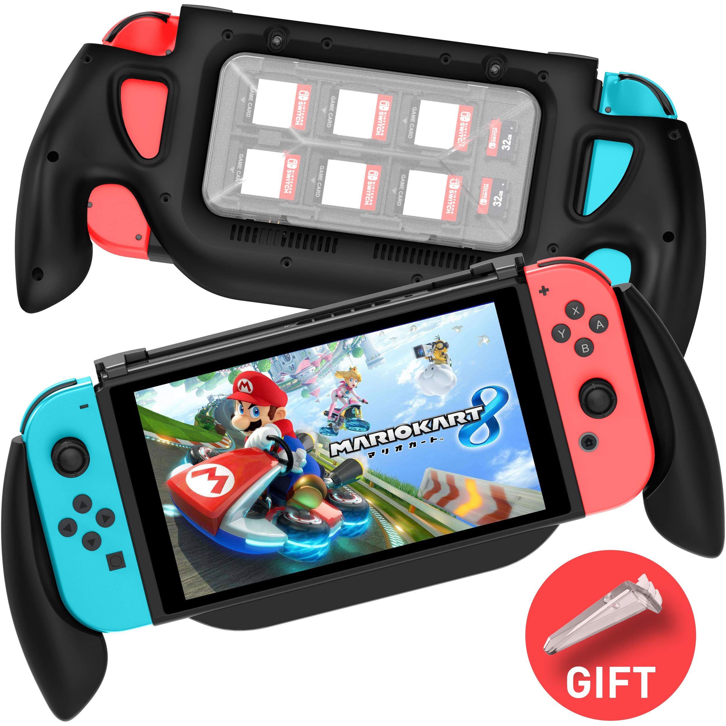 MEQI Gaming Grip Case for Nintendo Switch, Comfortable & Ergonomic Switch Charging Grip with Game Storage Case, Fast Charge Compatible 5V 2A AC Adapter with Type-C Cable for Switch Joy-con Controller by MEQI