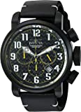 Invicta Men's 'Aviator' Quartz Stainless Steel and Leather Casual Watch, Color:Black (Model: 22266)