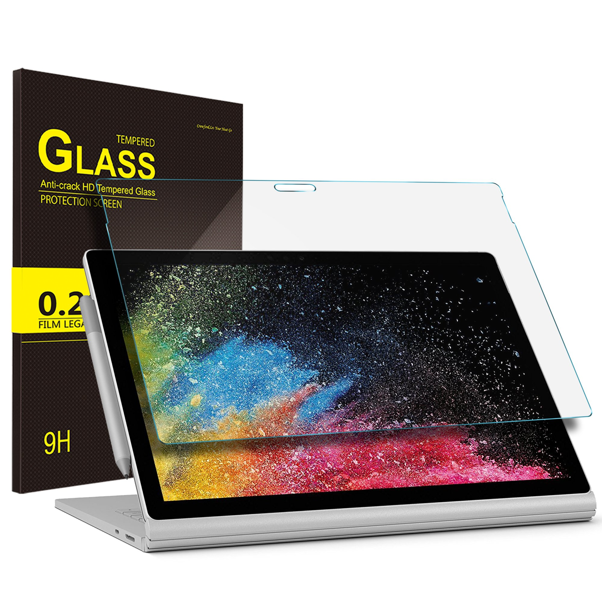 IVSO Surface book 2 Screen Protector, Premium Tempered-Glass Screen Protector For Microsoft Surface Book 2 13.5-Inch PixelSense Display Notebook Tablet (Tempered-Glass - 1 Pack)