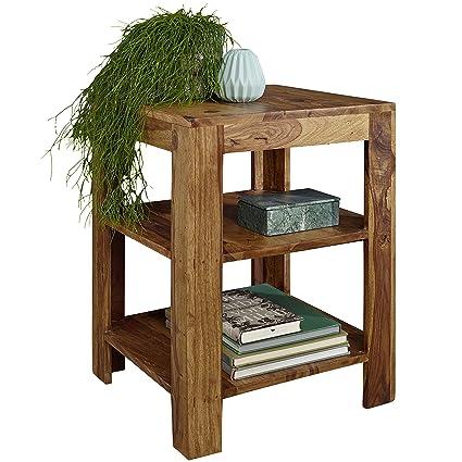 WOHNLING Standregal Massiv-Holz Sheesham 60 cm Wohnzimmer-Regal mit 2  Ablageföcher Design Landhaus-Stil Beistelltisch Natur-Produkt  Wohnzimmermöbel ...