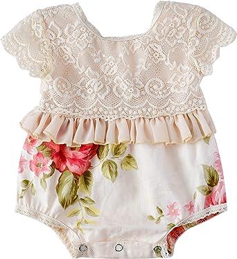 Newborn Infant Baby Girl Floral Romper Jumpsuit Cotton Bodysuit Outfits Clothes