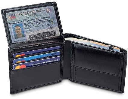 """TRAVANDO Cartera Hombre """"BERLIN"""" con Bloqueador RFID, Billetera Negra, Monedero Varón, Portamonedas, Regalo, Wallet, Vertical, Bolsillo Monedas Botón ..."""