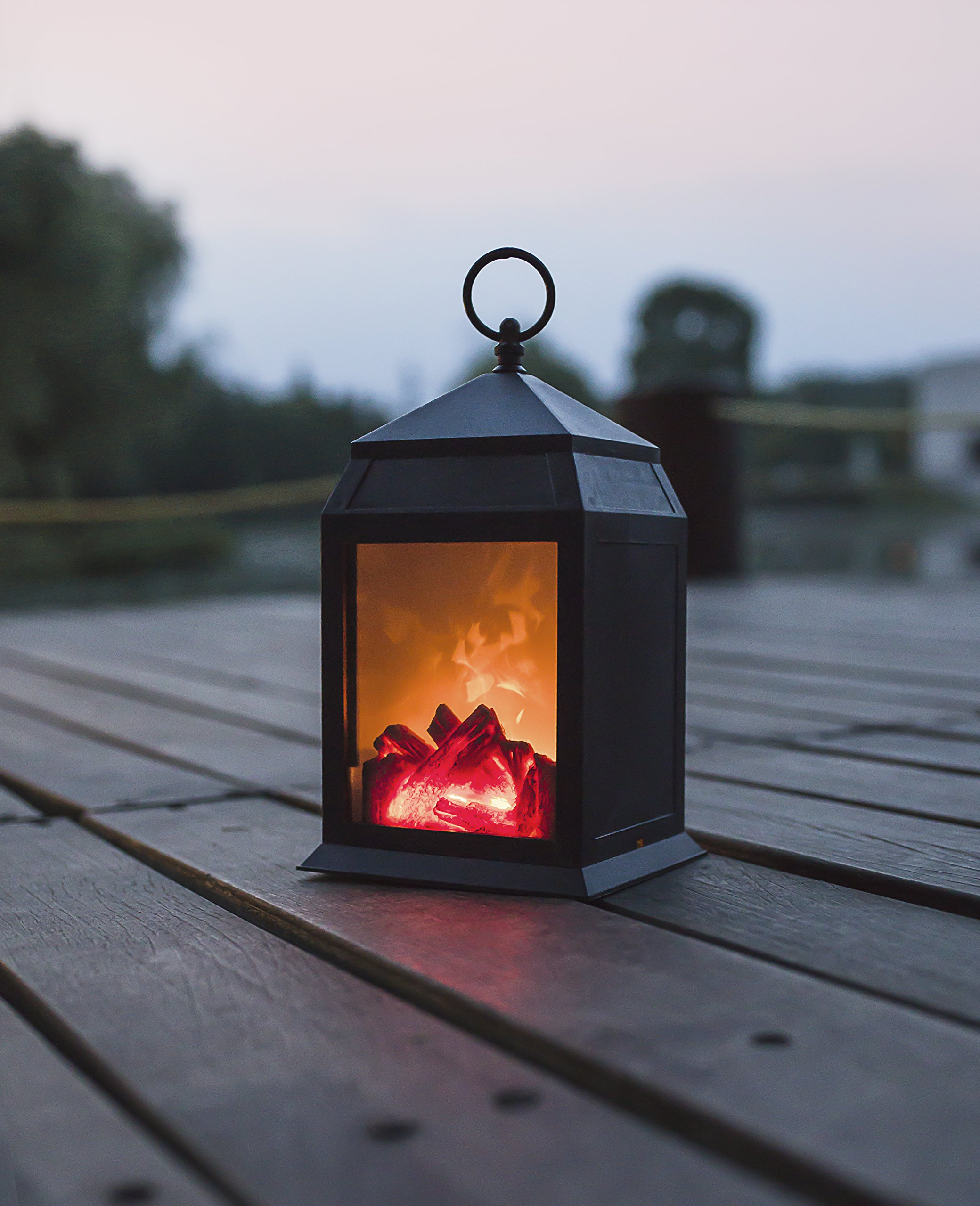 Decorative Realistic Fireplace Lantern and Battery Operated USB Operated 6 Hour Timer Included Tabletop Fireplace Lantern Indoor/Outdoor Fireplace Lamp 1 PC Black by decanit