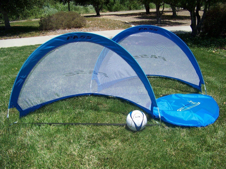 Pass 5フッター – 5 ftポップアップ、fold-ableサッカー目標。(ペア) Portable Soccer Football Nets & Carry Case。5足ターゲット目標。 B006E7LFDOブルー