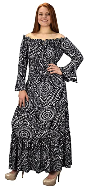 7cb2315fca Peach Couture Gypsy Boho Cap Sleeves Smocked Waist Tiered Renaissance Maxi  Dress