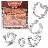 Fall/Thanksgiving Cookie Cutters - 5 Piece Boxed Set - Pumpkin, Turkey, Maple Leaf, Acorn, Squirrel - Ann Clark - USA Made Steel