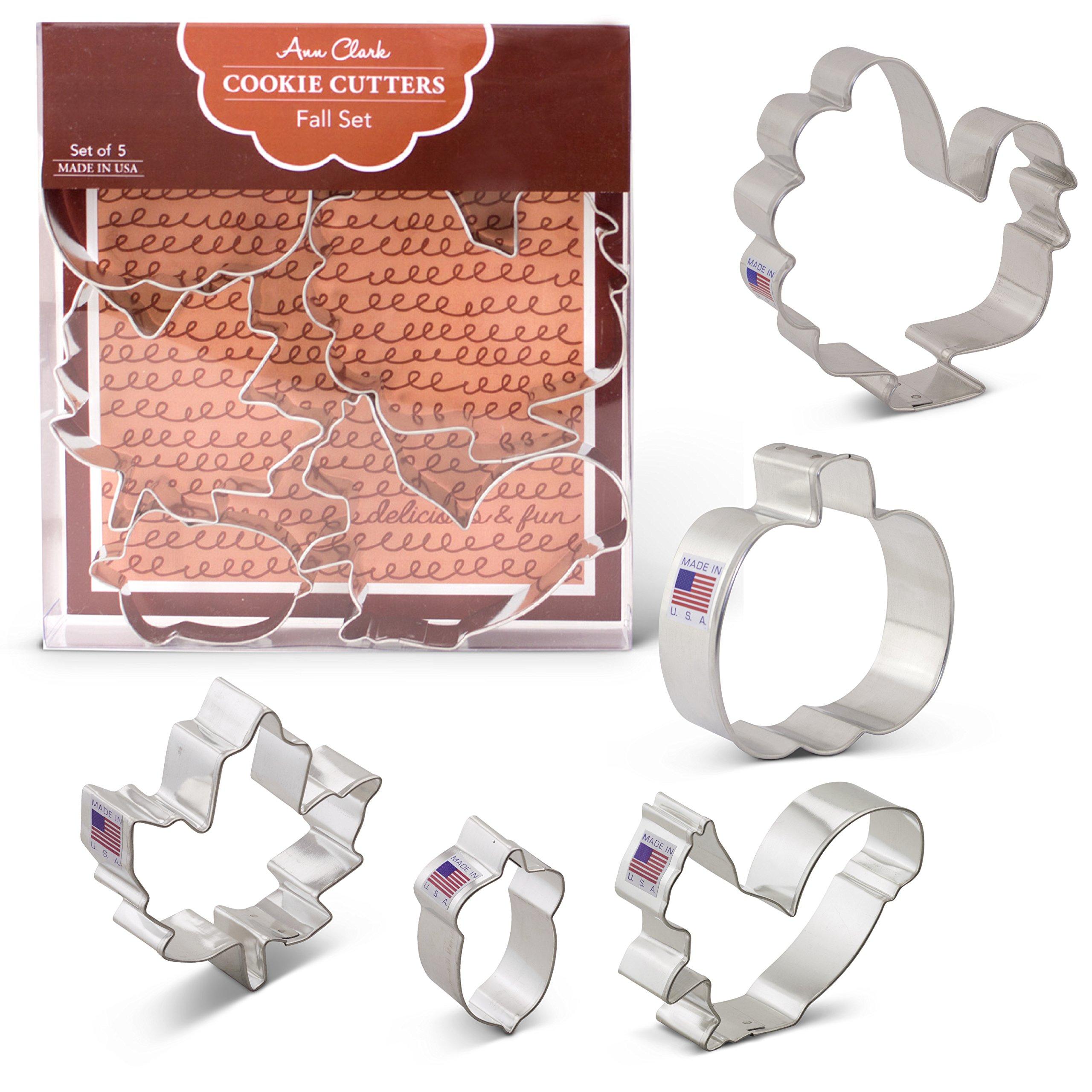 Fall/Thanksgiving Cookie Cutters - 5 Piece Boxed Set - Pumpkin, Turkey, Maple Leaf, Acorn, Squirrel - Ann Clark - US Tin Plated Steel