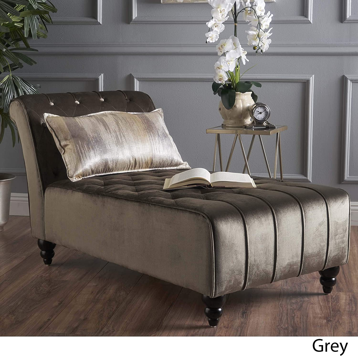 Rafaela Modern Glam Tufted Velvet Chaise Lounge with Scrolled Backrest Gray and Dark Brown