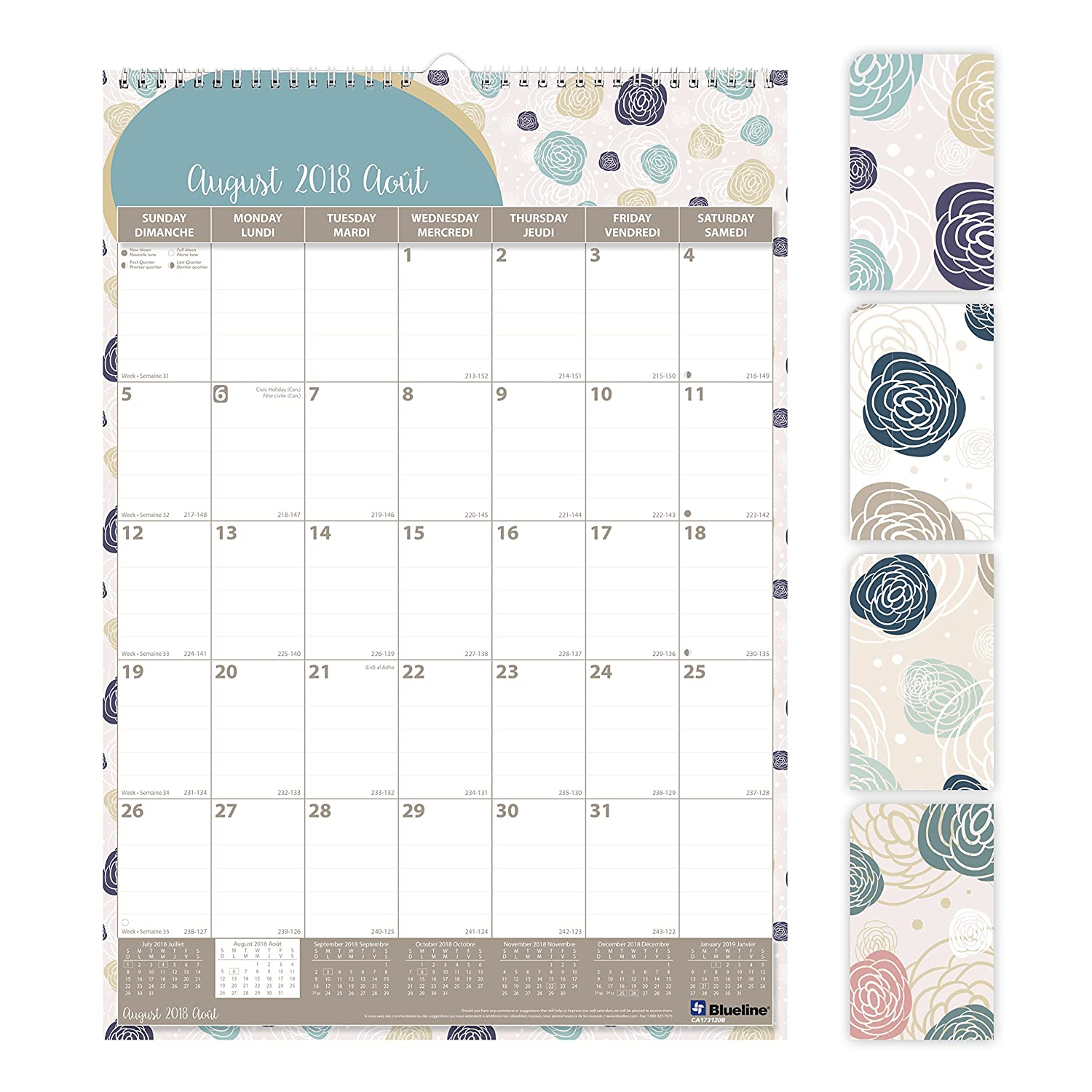 Blueline 2018-2019 Monthly Academic Colourful Wall Calendar with Begonia Design, 12x17, August 2018 to July 2019, Bilingual, (CA173120B-2019) 12x17 Blueline Canada