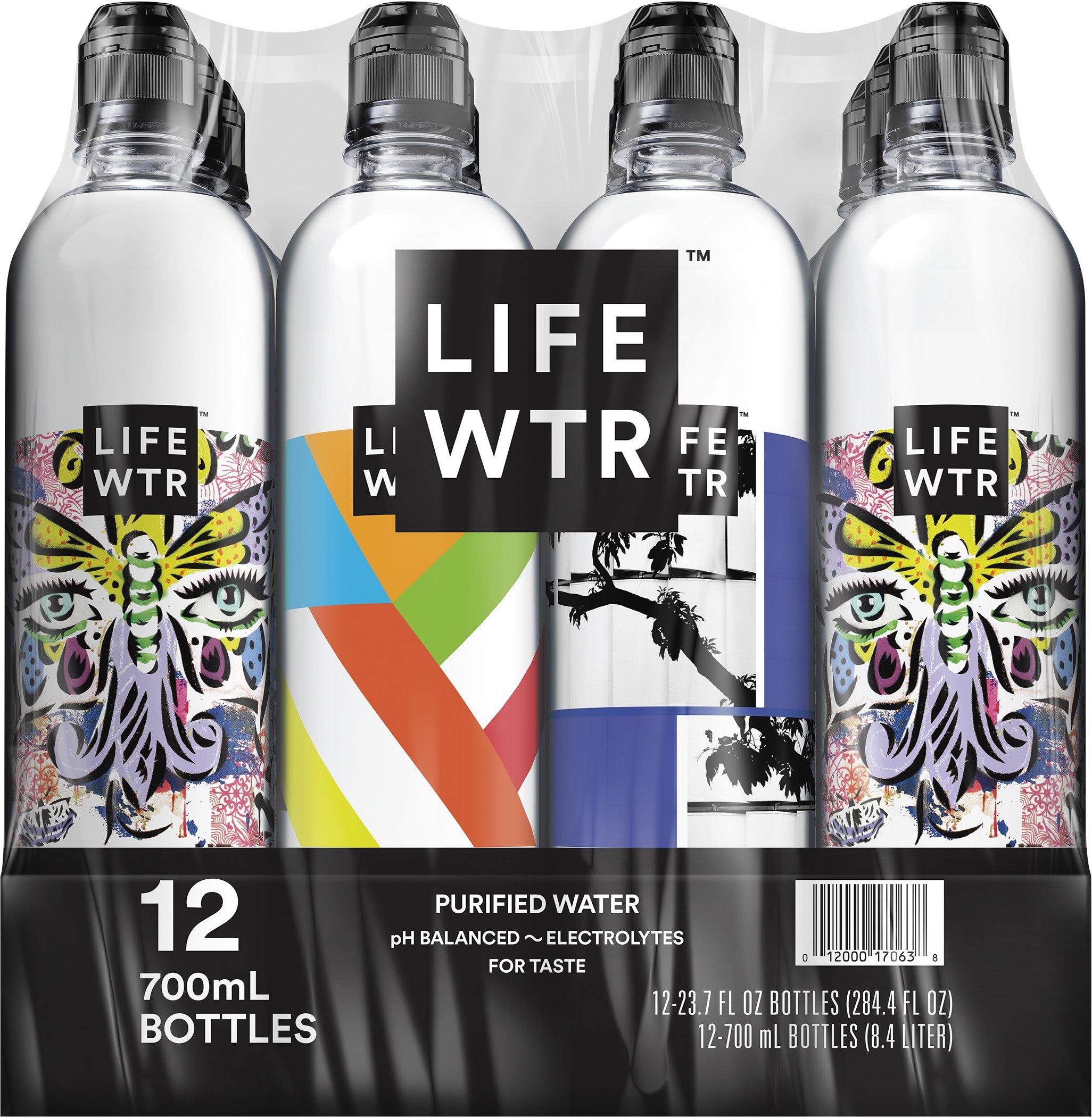 LIFEWTR, Premium Purified Water, pH Balanced with Electrolytes For Taste, 700 mL flip cap bottles (Pack of 12) (Packaging May Vary)