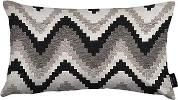 "McAlister Navajo Plush Textured Chenille 12x18"" Oblong Pillow Cover | Gray Black White Zip Decor Cushion Case | Zig Zag Woven Linen | Modern Aztec MoroccanBoho Accent"